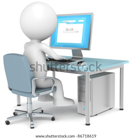 Search. 3D little human character Searching on Internet. Browser Window. Business People series. - stock photo