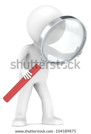Search. 3D little human character with a Magnifying Glass. Red. Low Refraction effect. People series. - stock photo