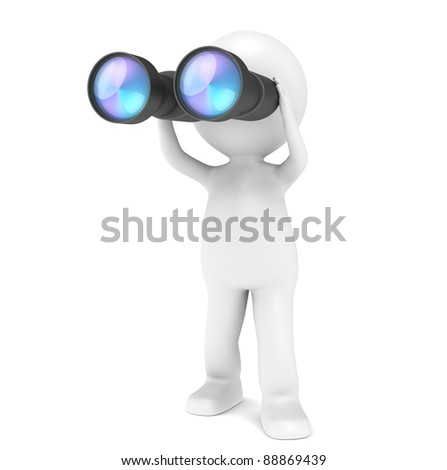 Search. 3D little human character with a pair of Binoculars. People series. - stock photo