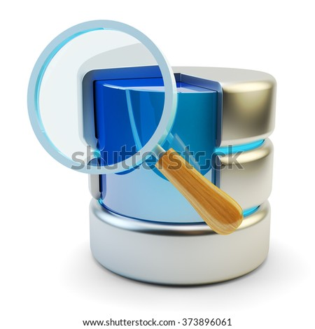 Search data icon, online information searching and computer network internet technology concept, magnifying glass with database symbol isolated on white background - stock photo