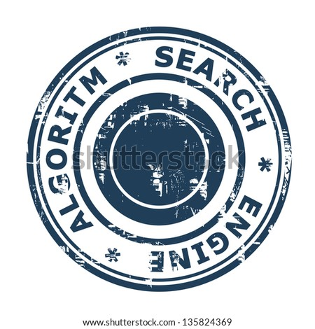 Search Engine Algorithmconcept stamp isolated on a white background. - stock photo