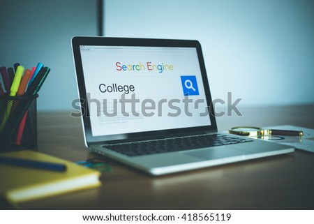 Search Engine Concept: Searching COLLEGE on Internet - stock photo