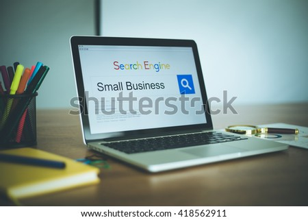 Search Engine Concept: Searching SMALL BUSINESS on Internet - stock photo