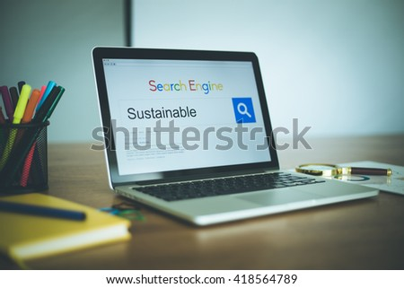 Search Engine Concept: Searching SUSTAINABLE on Internet - stock photo
