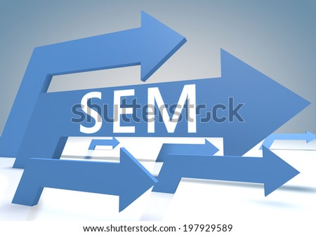 Search Engine Marketing 3d render concept with blue arrows on a bluegrey background. - stock photo