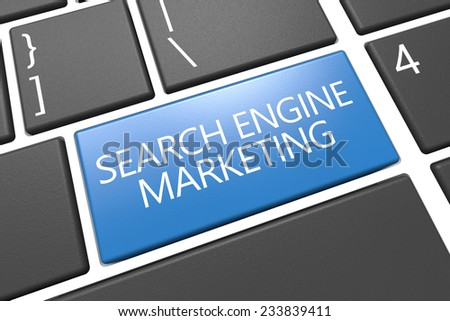 Search Engine Marketing - keyboard 3d render illustration with word on blue key - stock photo