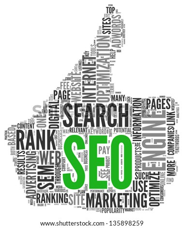 Search engine marketing SEM concept in word tag cloud on white background - stock photo