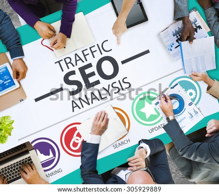 Search Engine Optimization Analysis Information Data Concept - stock photo