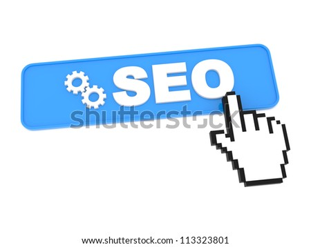 Search Engine Optimization Button and Hand-Shaped Mouse Cursor. - stock photo
