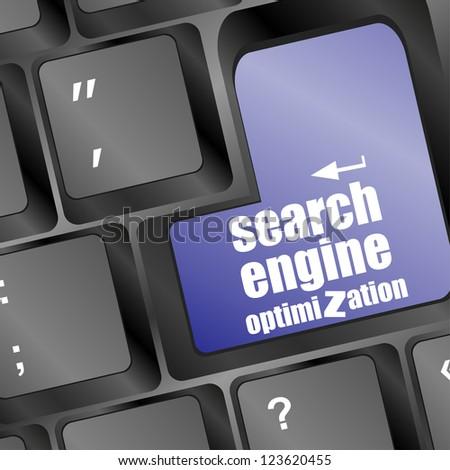 search engine optimization, computer keyboard with seo key, raster - stock photo