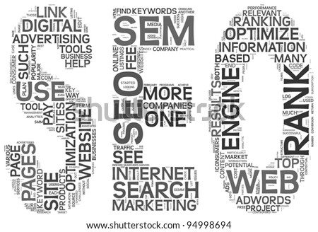 Search engine optimization concept in SEO shape as word tag cloud on white background - stock photo