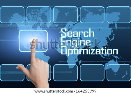 Search Engine Optimization concept with interface and world map on blue background - stock photo