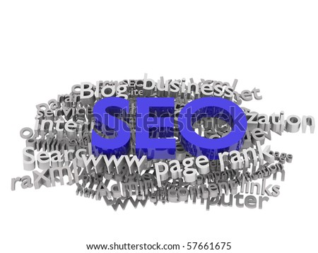 Search engine optimization. Conceptual image with keyword cloud around SEO letters. - stock photo