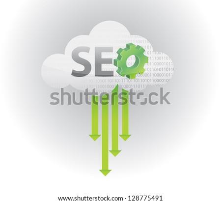 search engine optimization illustration design over a white - stock photo
