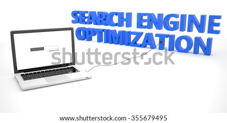 Search Engine Optimization - laptop notebook computer connected to a word on white background. 3d render illustration. - stock photo