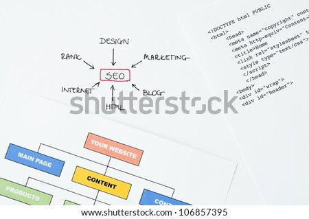 Search engine optimization planning with writing, diagram and html - stock photo
