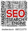 Search engine optimization SEO concept in word tag cloud on white - stock vector