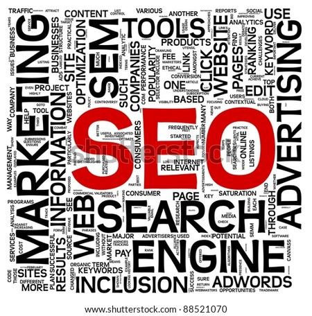 Search engine optimization SEO concept in word tag cloud on white