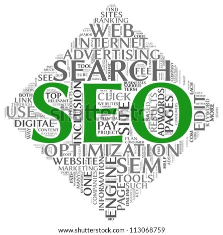 Search engine optimization SEO concept in word tag cloud on white background - stock photo