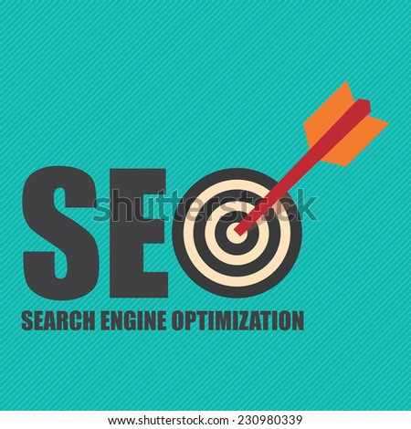Search Engine Optimization, SEO Concept With Dart Hitting a Target Bullseye - stock photo