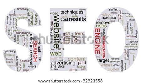 Search engine optimization (seo) wordcloud - stock photo