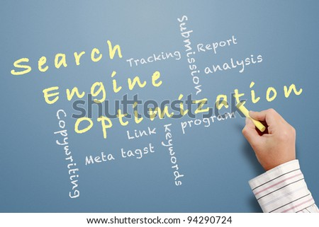 Search engine optimization ( SEO) written on chalkboard - stock photo