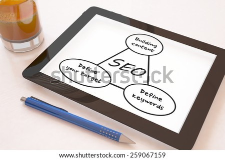 Search Engine Optimization - text concept on a mobile tablet computer on a desk - 3d render illustration. - stock photo