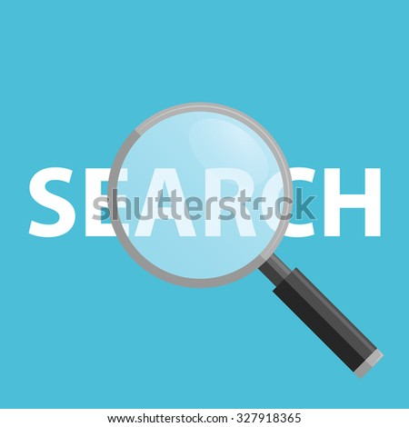 Search Flat Icon on a blue background, Magnifying Glass