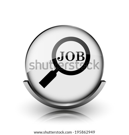 Search for job icon. Shiny glossy internet button on white background.  - stock photo