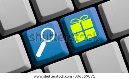 Search for presents online - symbols on computer keyboard - stock photo