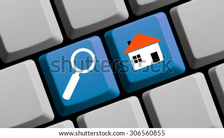 Search for real estate online - symbols on computer keyboard - stock photo