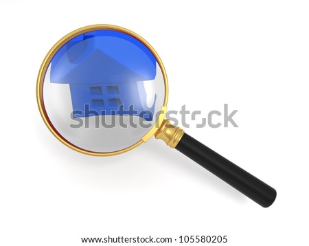 search house/A magnifying glass and house model - stock photo
