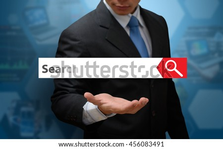 Search icon concept and business man - stock photo