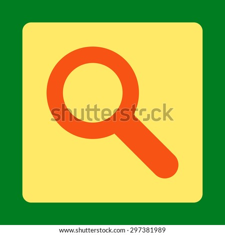 Search icon from Primitive Buttons OverColor Set. This rounded square flat button is drawn with orange and yellow colors on a green background.