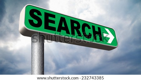 Search information online find info and search on the internet road sign