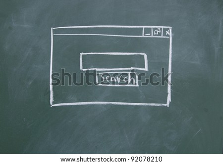 Search interface drawn with chalk on blackboard - stock photo