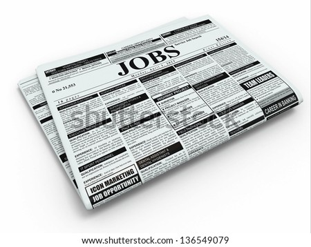 Search job. Newspaper with advertisments on white isolated background. 3d - stock photo