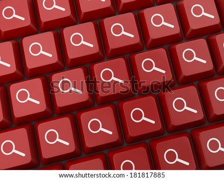 Search key on a red keyboard - stock photo