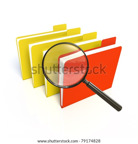 Search of data. One red. Isolated 3D