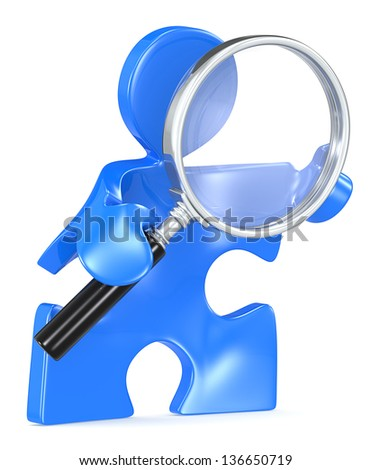 Search. Puzzle people with Magnifying Glass. - stock photo