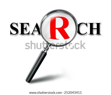 search red word concept with magnifying glass on white background. clipping path included