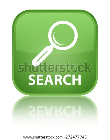 Search soft green square button - stock photo