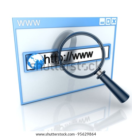 Search web-page in www (done in 3d) - stock photo