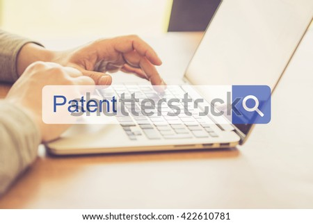 SEARCH WEBSITE INTERNET SEARCHING PATENT CONCEPT - stock photo