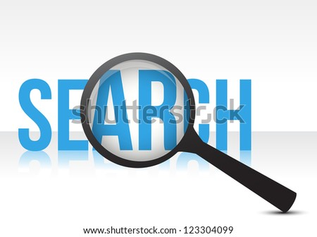 search with magnifying glass illustration design over white - stock photo