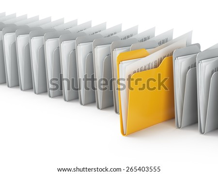 Searching a folders in archive isolated on white - stock photo