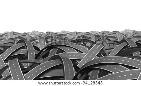 Searching and search or find from a lost direction going nowhere in business and life as represented by tangled bundled roads and highways linked in a chaotic path that has no end or beginning. - stock photo