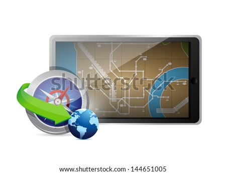 searching for a destination illustration technology design over white - stock photo