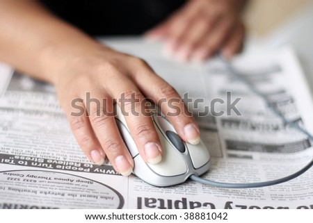searching for a job conceptual image with mouse - stock photo