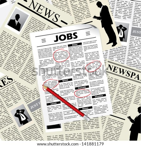 Searching for a job in newspapers and selecting them